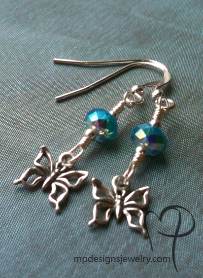 I Want To Fly ~ Caribbean Opal Blue Crystal Butterfly Earrings