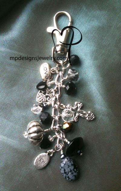 Whimsy Girl ~ Black Crystal Heart Cross Key/Purse Charm