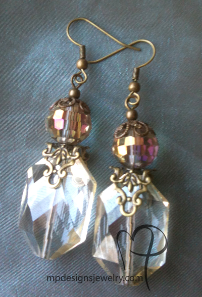 Vintage Romance ~ Steampunk Crystal Brass Earrings