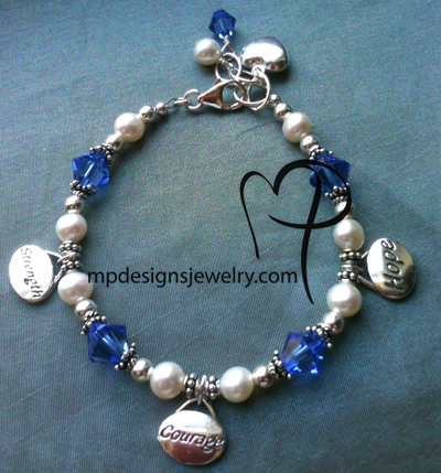Never Give Up! Strength, Courage, Hope Crystal Pearl Sterling Silver Charm Bracelet