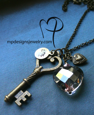 Love is the Key ~ Charm Crystal Heart Antiqued Gold Brass Necklace