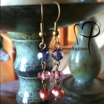 Inspire ~ Pastel Pearls Crystal Earrings