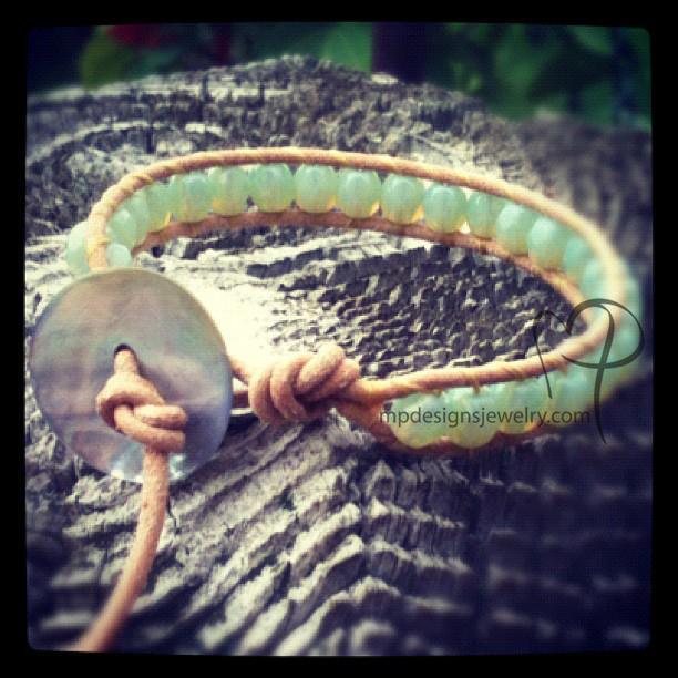 Sea Blue-Green Crystal Leather Wrap Bracelet