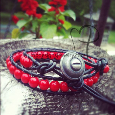 Unisex Black Greek Leather Red Wrapped Bracelet