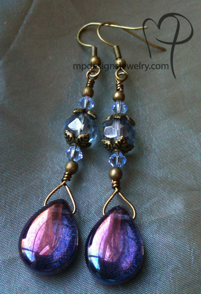 Violet Teardrop Crystal Brass Earrings
