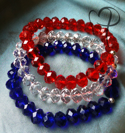 Liberty ~ Red, White, and Blue Crystal Trio Bracelets