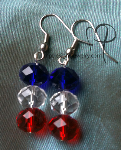Liberty ~ Red, White, and Blue Crystal Trio Earrings
