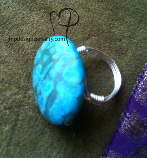 Turquoise Mosaic Wire Wrapped Ring