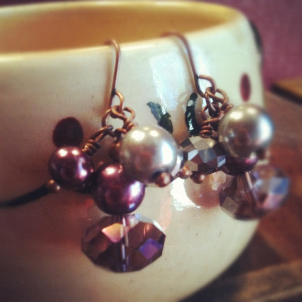 Lap of Luxury - Pearls and Crystals Cluster Earrings