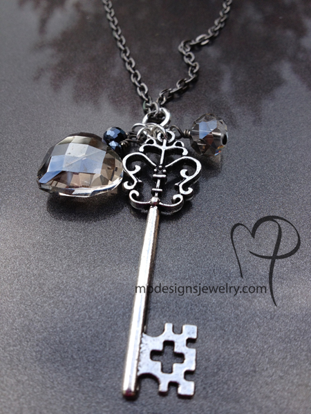 Love is the Key ~ Smokey Quartz Crystal Heart Antiqued Silver Gun Metal Necklace