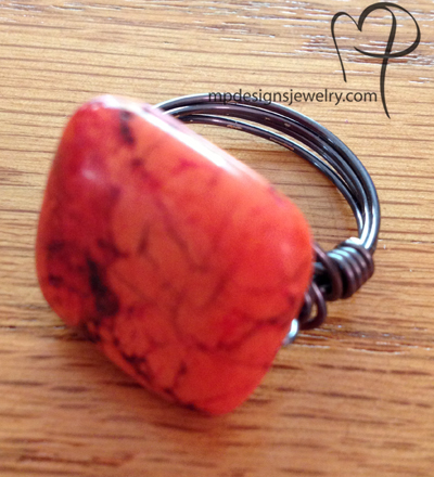 Red Turquoise Wire Wrapped Ring