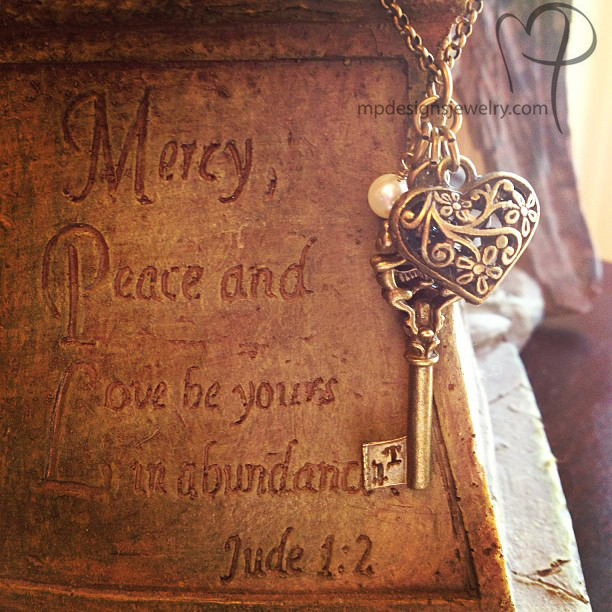 Love is the Key ~ Brass Charm Necklace