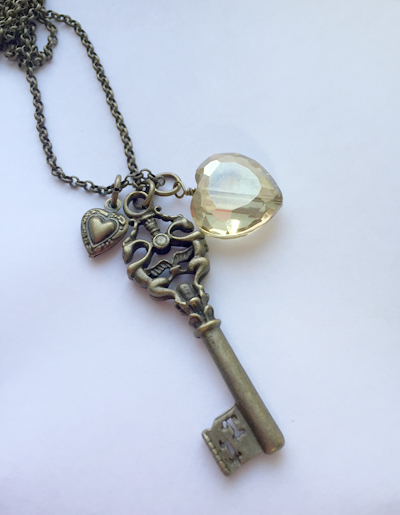 heart key crystal tiny charm brass necklace