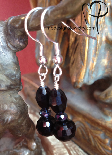 Black Beauty Crystal Earrings