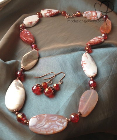 Warm Me Up! Red Crab Agate Crystal Copper Jewelry Set