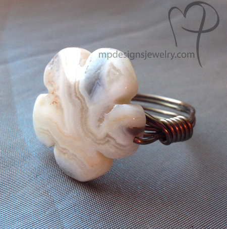 Bohemian Flower Agate Wrapped Brass Ring