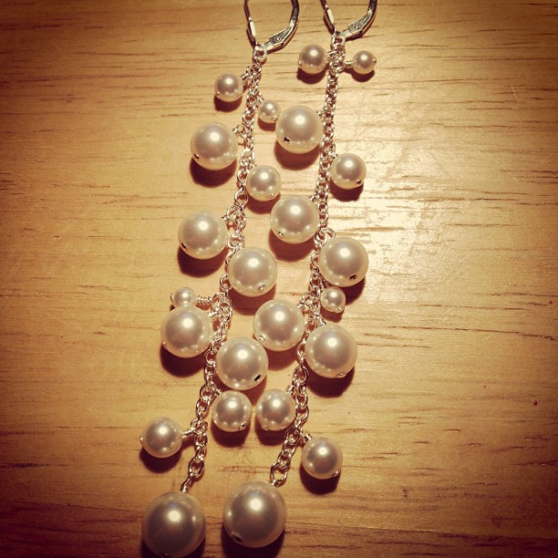 Cascading Swarovksi Pearl Earrings