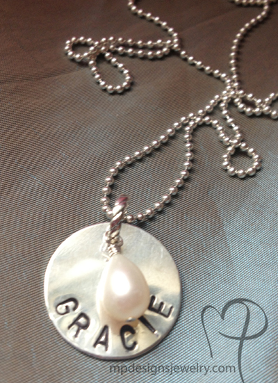 Custom Hand Stamped Name Charm Necklace