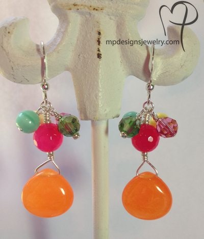 Creamsicle Gemstone Crystal Earrings