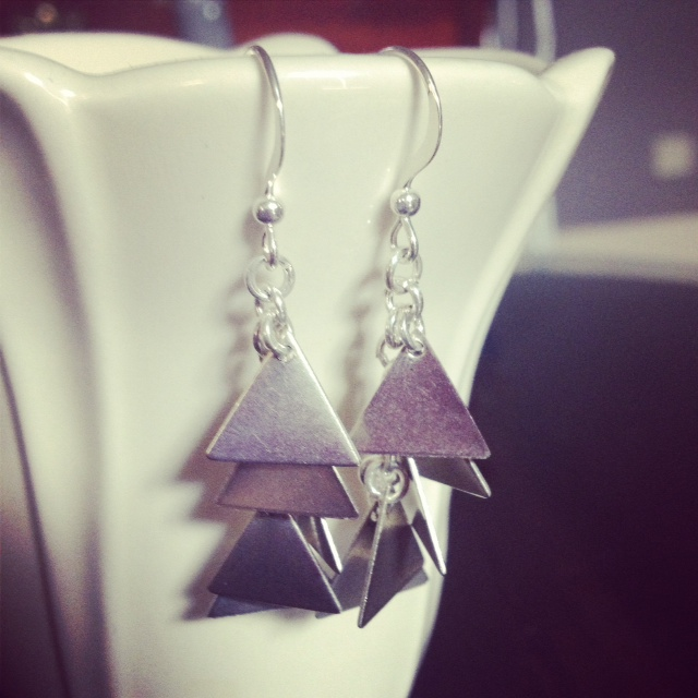 Silver Triangle Dangle Earrings