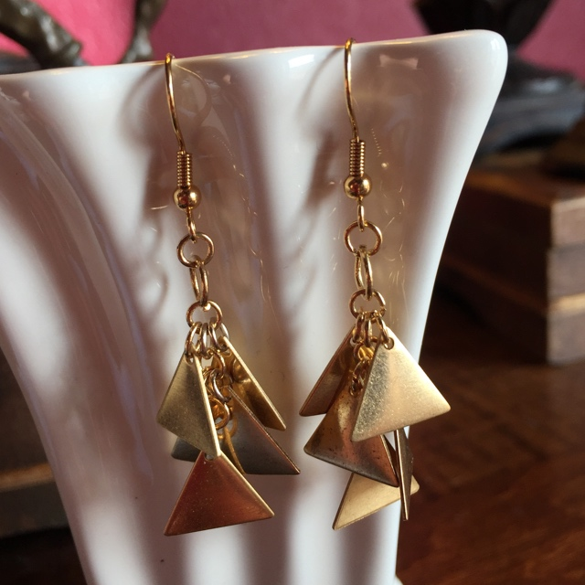 Gold plated triangle dangle earrings