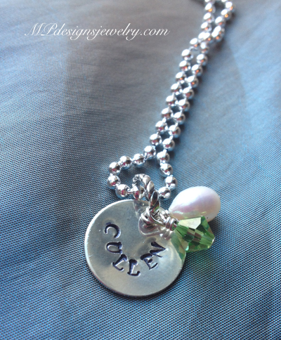 Grandmother/Mother Handstamped Charm Personalized Necklace