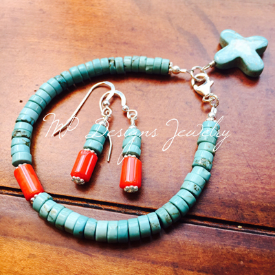 Turquoise Coral Sterling Silver Bracelet/Earrings Set
