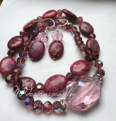 Amethyst Gemstone Crystal Stretchy Bracelet Set