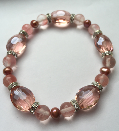 Rose Quartz Crystal Pearl Stretch Bracelet