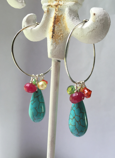turquoise multi gem ss hoop earrings