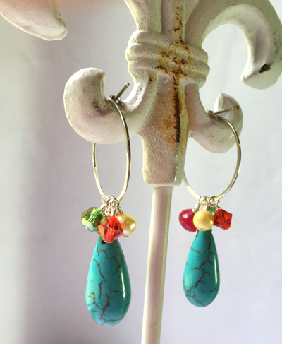 turquoise multi gem ss hoop 2 earrings