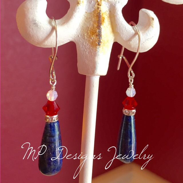 Let Freedom Ring lapis Earrings