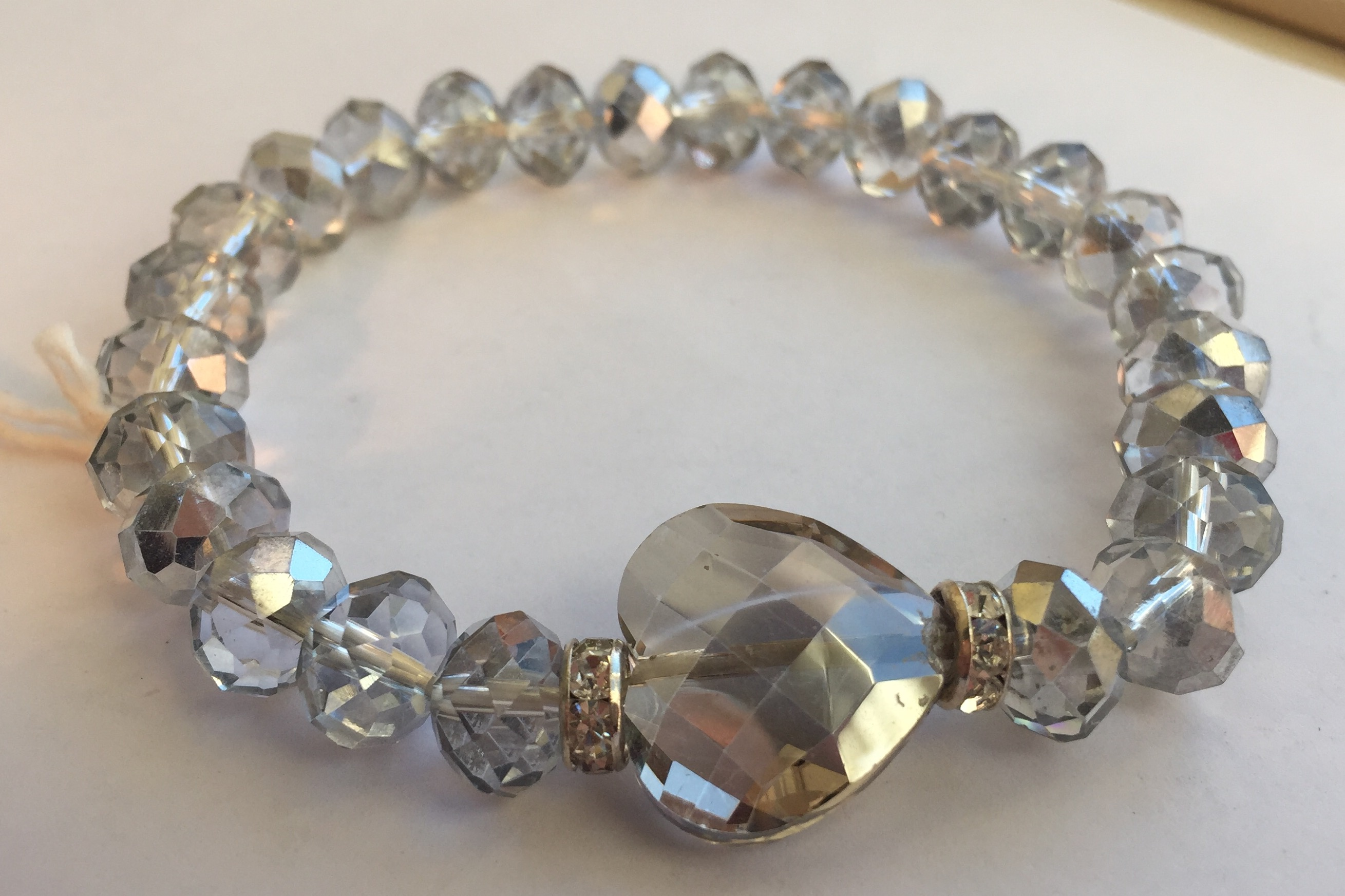 Smoke Grey heart crystal stretch bracelet