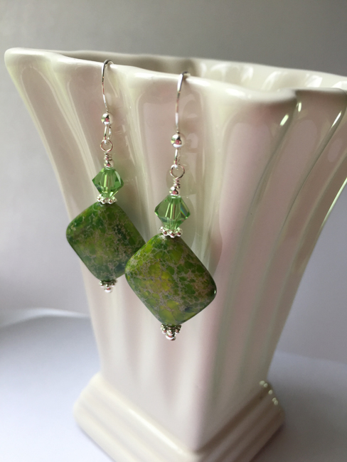 Peridot Green Variscite Gemstone Swarovski Crystal Sterling Silver Earrings