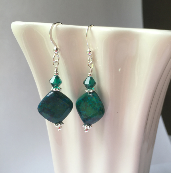 Emerald Green Chysocolla Diamond Gemstone Swarovski Crystal Sterling Silver Earrings