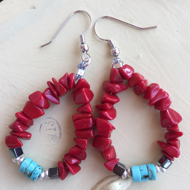 Boho Red coral turquoise Heishi hoop earrings