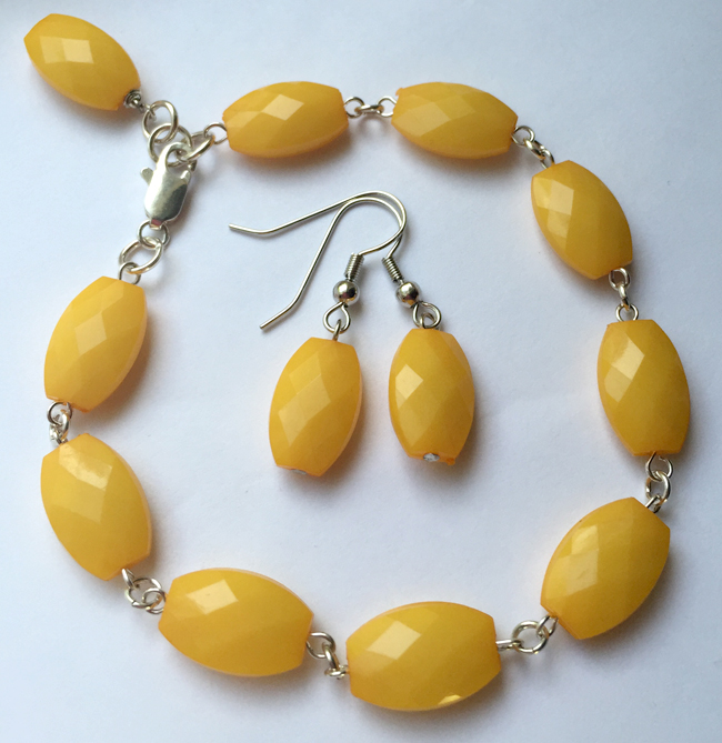 Yellow Beaded Link Bracelet Earrings Set