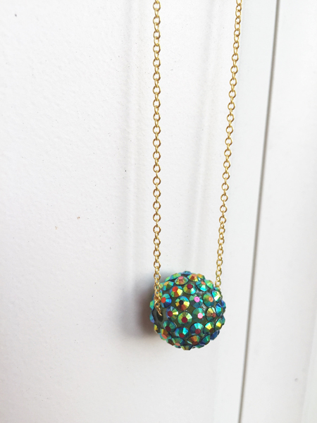 Emerald Pave' Bead Gold Necklace