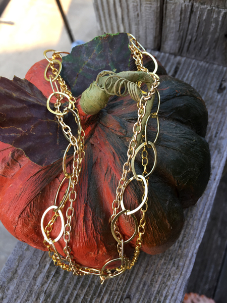gold triple chain layered necklace