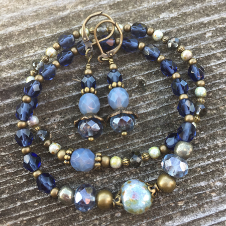 Denim Blue Beaded Stretch Bracelet/ Earrings Set