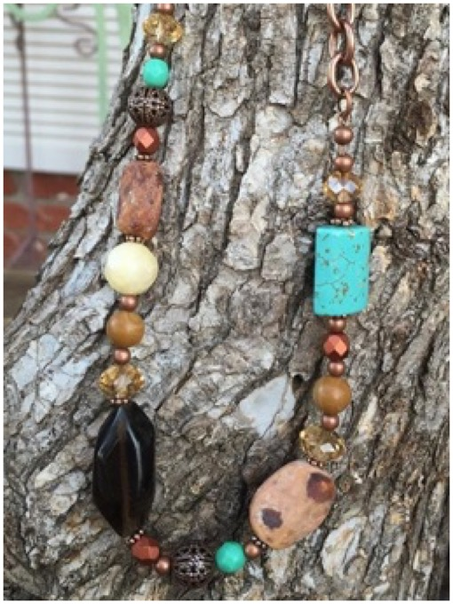 Boho copper chunky necklace