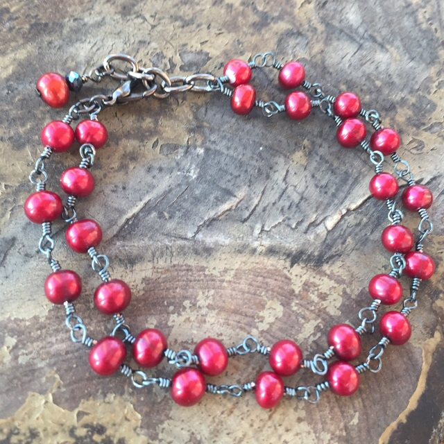 Cranberry Red Freshwater Pearls Wire Wrapped Black Bracelet