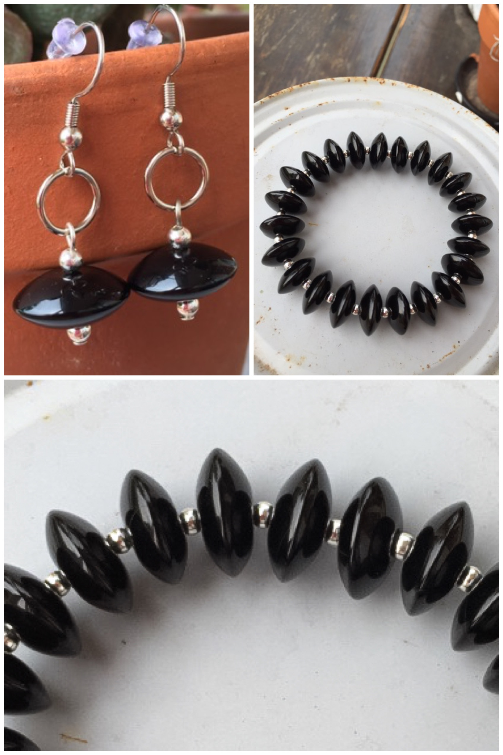 Black Onyx Agate Gemstone Bracelet/Earring Jewelry Set