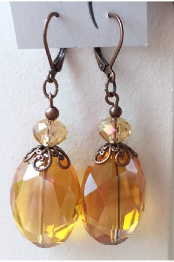 Topaz Filigree Crystal Quartz Chunky earrings