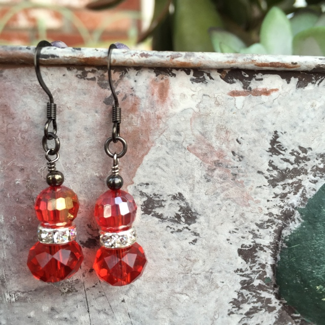 Red on red crystal holiday black earrings