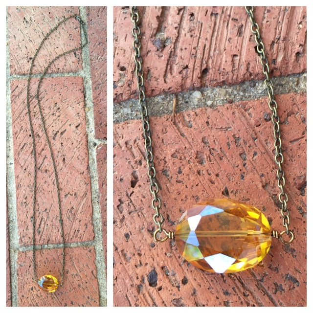 Topaz Gold Quartz crystal necklace
