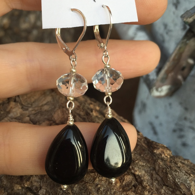 Sparkling Crystal Black Agate Teardrop 2 Earrings