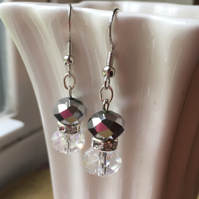 Special crystal silver holiday sparkle earrings