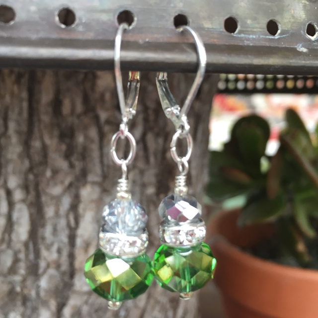 Greenery Crystal Sparkle Earrings