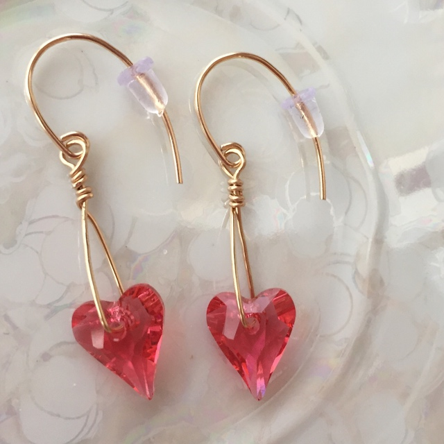 Pink Passion Swarovski Crystal Heart Gold Earrings